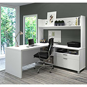 Bestar® L-Desk with Open Hutch - White - Pro-Linea Series