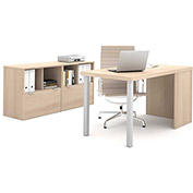Bestar i3 Series Executive Kit in Northern Maple with 2 File Drawers & Storage Unit