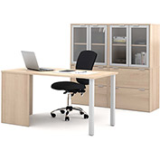Bestar® Workstation Kit with File Cabinet & Hutch - Northern Maple - i3 Series