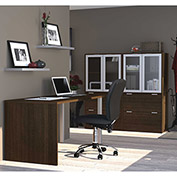 Bestar® Workstation Kit with File Cabinet & Hutch - Medium Oak - i3 Series