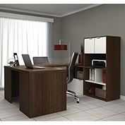 "Bestar® U Shaped Desk Workstation with Storage - 60"" - Medium Oak - i3 Series"