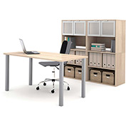 "Bestar® Workstation Kit with Storage & Hutch - 60"" - Northern Maple - i3 Series"