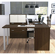 "Bestar® U Shaped Desk Workstation with Lateral File - 60"" - Medium Oak - i3 Series"