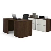 Bestar i3 Series Executive Kit in Medium Oak & Sandstone with 4 File Drawers