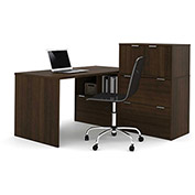 "Bestar® L Desk with Lateral File Cabinets - 60"" - Medium Oak - i3 Series"