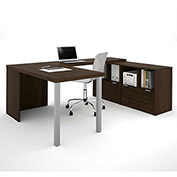 "Bestar® U Desk with Lateral File & Storage - 60"" - Medium Oak - i3 Series"