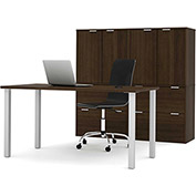 Bestar i3 Series Executive Kit in Medium Oak with 4 File Drawers & Storage Unit