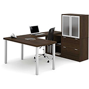 Bestar® U Shaped Desk with Lateral File &  Hutch - Medium Oak - i3 Series