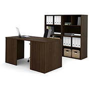 Bestar i3 Series Executive Kit in Medium Oak & Storage Unit w/ 2 Open Cubby Hutch