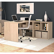 "Bestar® L Desk with Open Storage - 60"" - Northern Maple - i3 Series"