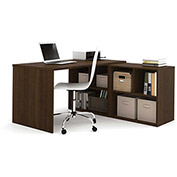 "Bestar® L Desk with Open Storage - 60"" - Medium Oak - i3 Series"
