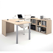 "Bestar® U Desk with Open Storage - 60"" - Northern Maple and Sandstone - i3 Series"
