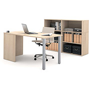 Bestar i3 Series Executive Kit in Northern Maple with Storage Unit & Hutch