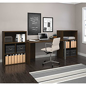 Bestar i3 Series Executive Kit in Medium Oak with Storage Unit & Hutch
