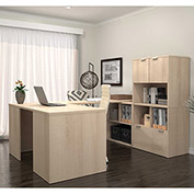 "Bestar® U Desk with Lateral File and Storage - 60"" - Northern Maple - i3 Series"