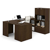 "Bestar® U Desk with Lateral File and Storage - 60"" - Medium Oak - i3 Series"