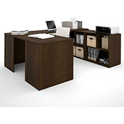 Bestar i3 Series U-Shaped Desk in Medium Oak