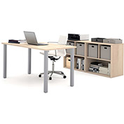 Bestar i3 Series Executive Kit in Northern Maple with Storage Unit