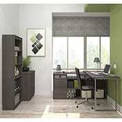 Bestar® L-Shaped Desk with Lateral File and Bookcase - Bark Gray - Solay Series