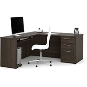 "Bestar® L-Shaped Desk with Keyboard Shelf - 66"" - Dark Chocolate - Embassy Series"