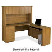 Embassy L-shaped Workstation with Credenza & Hutch in Cappuccino Cherry