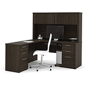 "Bestar® L-Shaped Desk and Hutch - 66"" - Dark Chocolate - Embassy Series"