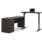 Bestar® L-Desk Including Electric Height Adjustable Table - Dark Chocolate - Embassy Series