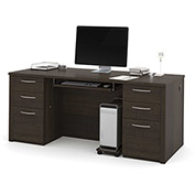 "Bestar® 71"" Executive Desk Kit - 71"" - Dark Chocolate - Embassy Series"