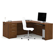 "Bestar® 71"" L-Shaped Desk - 71"" - Tuscany Brown - Embassy Series"
