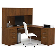 "Bestar® 71"" L-Shaped Desk with Hutch - 71"" - Tuscany Brown - Embassy Series"