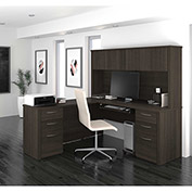 "Bestar® L-Shaped Desk with Hutch - 71"" - Dark Chocolate - Embassy Series"