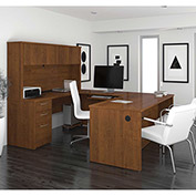 "Bestar® U-Shaped Desk - 71"" - Tuscany Brown - Embassy Series"
