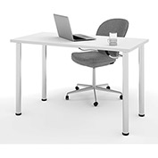 Bestar All-Purpose Worksurface Table White With Round Metal Leg (Zinc Finish)