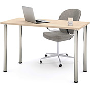 Bestar All-Purpose Worksurface Table Northern Maple With Round Metal Leg (Zinc Finish)