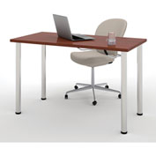 "Bestar® 24""L x 48""D All Purpose Worksurface Table With Round Metal Legs Bordeaux"