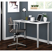Bestar All-Purpose Worksurface Table White With Square Metal Leg (Silver Finish)