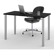 Bestar All-Purpose Worksurface Table Black With Square Metal Leg (Silver Finish)