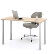 Bestar All-Purpose Worksurface Table Northern Maple With Square Metal Leg (Silver Finish)