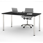 "Bestar® 30""L x 60""D All Purpose Worksurface Table With Round Metal Legs Black"