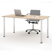 "Bestar® 30""L x 60""D All Purpose Worksurface Table With Round Metal Legs Northern Maple"
