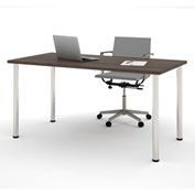 "Bestar® 30""L x 60""D All Purpose Worksurface Table With Round Metal Legs Antigua"