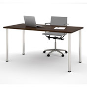 "Bestar® 30""L x 60""D All Purpose Worksurface Table With Round Metal Legs Chocolate"