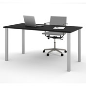 "Bestar® 30""L x 60""D All Purpose Worksurface Table With Square Metal Legs Black"