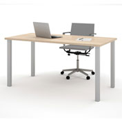 "Bestar® 30""L x 60""D All Purpose Worksurface Table With Square Metal Legs Northern Maple"