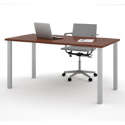 "Bestar® 30""L x 60""D All Purpose Worksurface Table With Square Metal Legs Bordeaux"