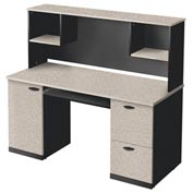 Bestar® Credenza and Hutch - Sand Granite & Charcoal - Hampton Series