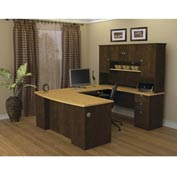 Manhattan U-shaped Workstation in Secret Maple & Chocolate