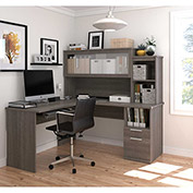 Bestar® L-Shaped Desk - Bark Gray - Dayton Series