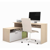 "Bestar® L-Workstation - 60"" - Northern Maple - Modula Series"