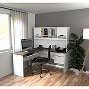 Bestar® L-Shaped Desk - White and Antigua - Innova Series